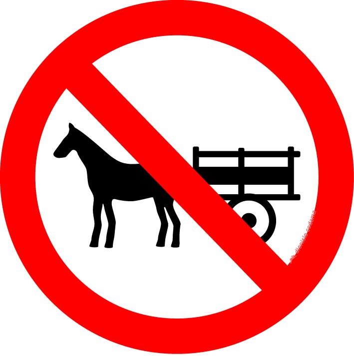 Proibido transito de veiculos de tracao animal