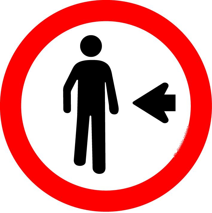 Pedestre, ande pela esquerda
