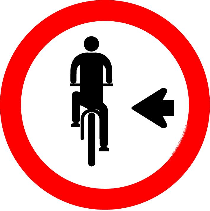 Ciclista, transite a esquerda