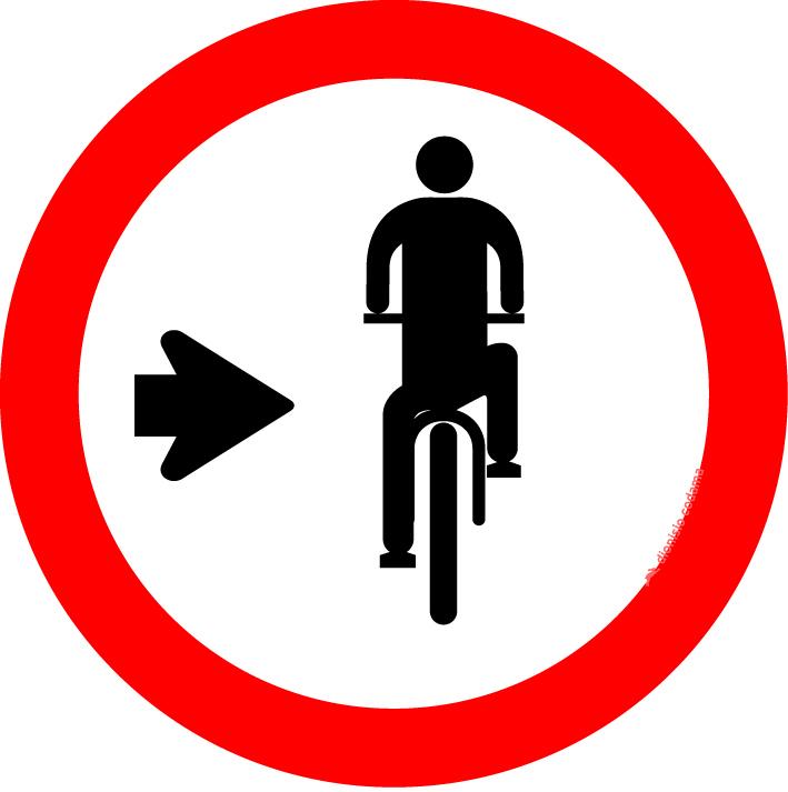 Ciclista, transite a direita