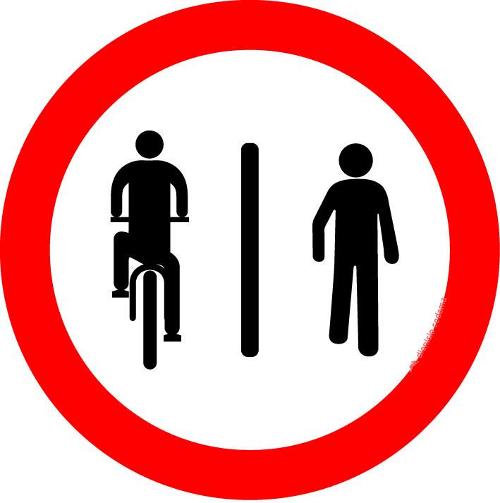 Ciclistas a esquerda, pedestres a direita