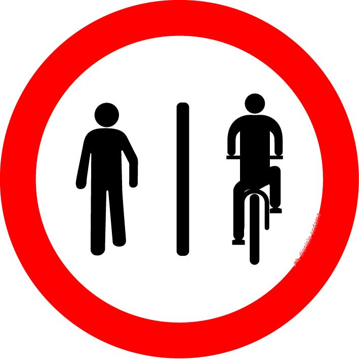 Pedestres a esquerda, ciclistas a direita
