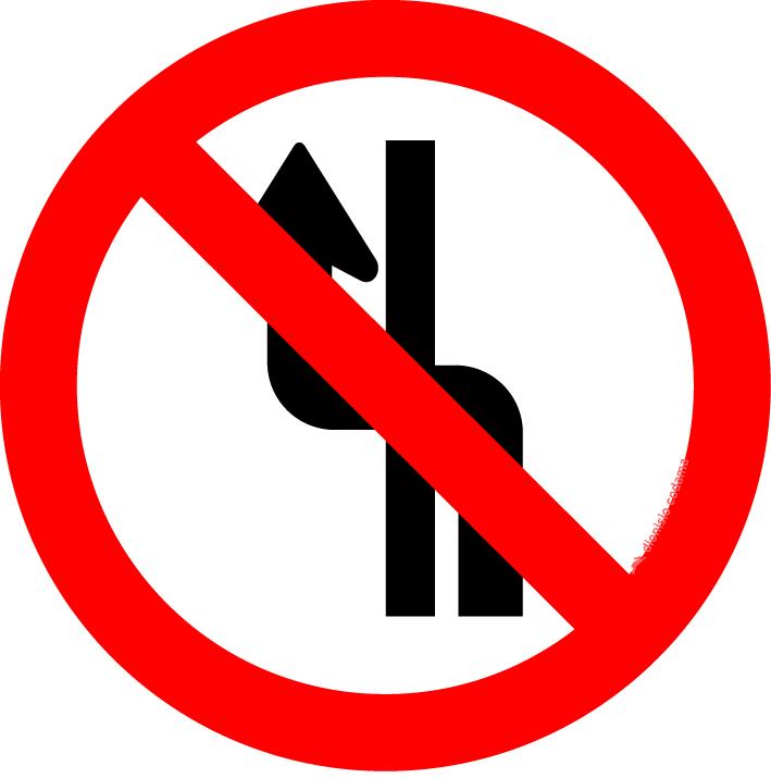 Proibido mudar de faixa ou pista de transito da direita para esquerda