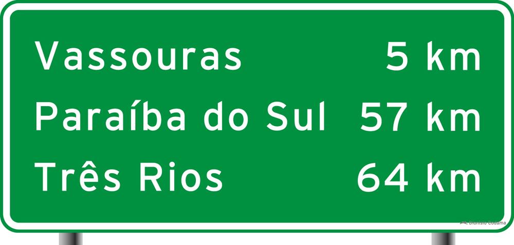 Placa indicativa de distancia 3
