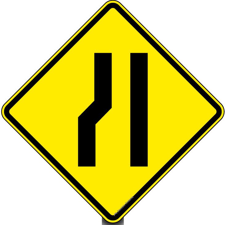 Estreitamento de pista a esquerda