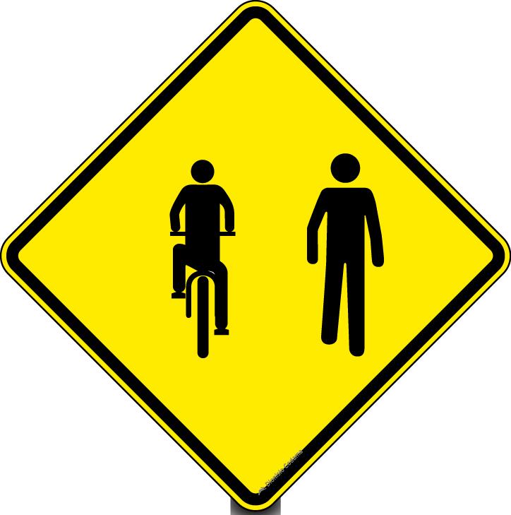 Transito compartilhado por ciclistas e pedestres