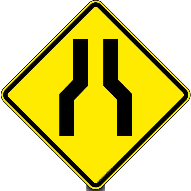 Resultado de imagem para placa Estreitamento de pista ao centro