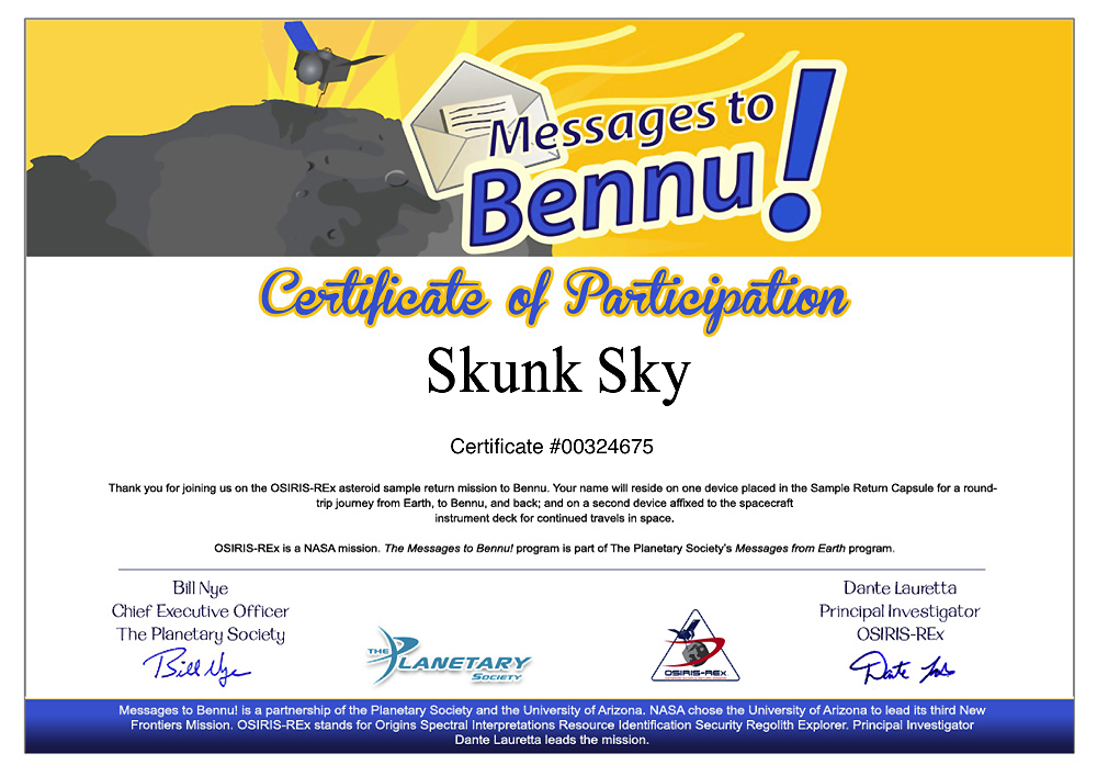SkunkSky name towards Bennu asteroid
