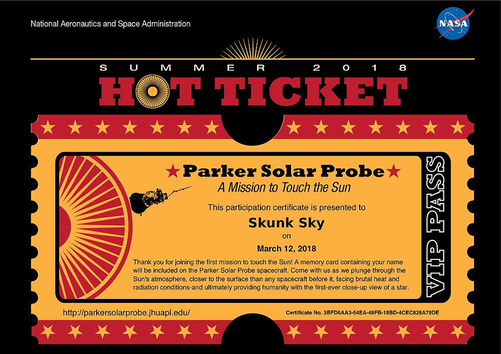 SkunkSky name on Parker Solar Probe