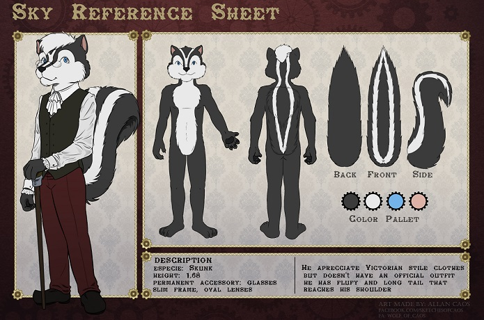 SkunkSky reference sheet by Allan Caos